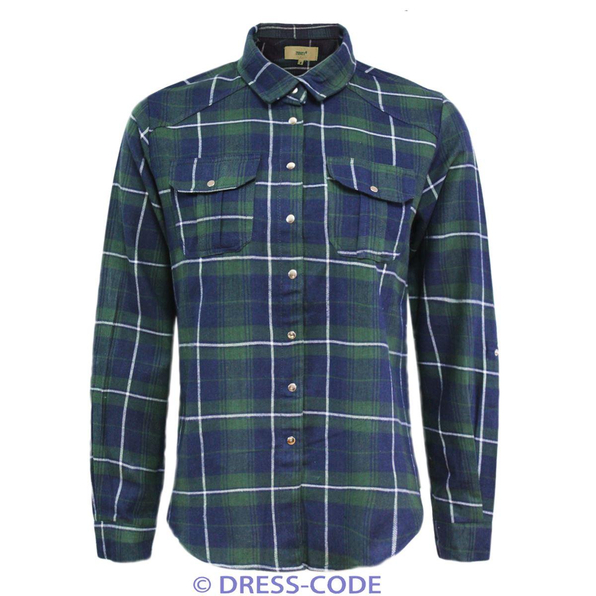 ladies womens long sleeve button down check tartan shirt