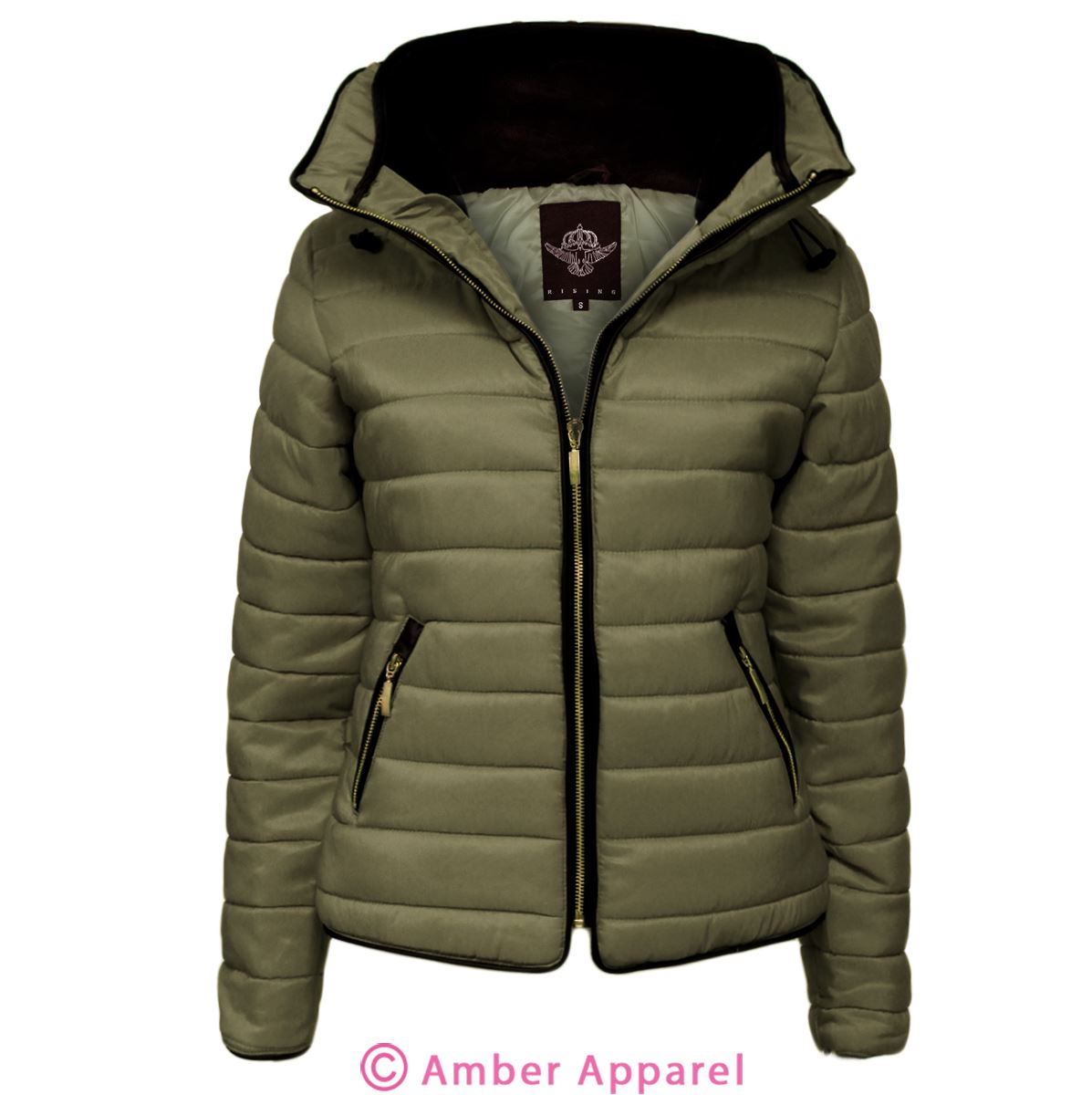 New Ladies Quilted Padded Puffer Bubble Fur Collar Warm Thick ...