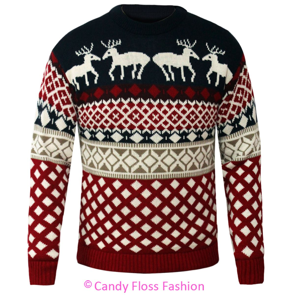 Novelty Christmas Jumpers Knitting Pattern : Mens xmas fairisle christmas jumper reindeer knitted
