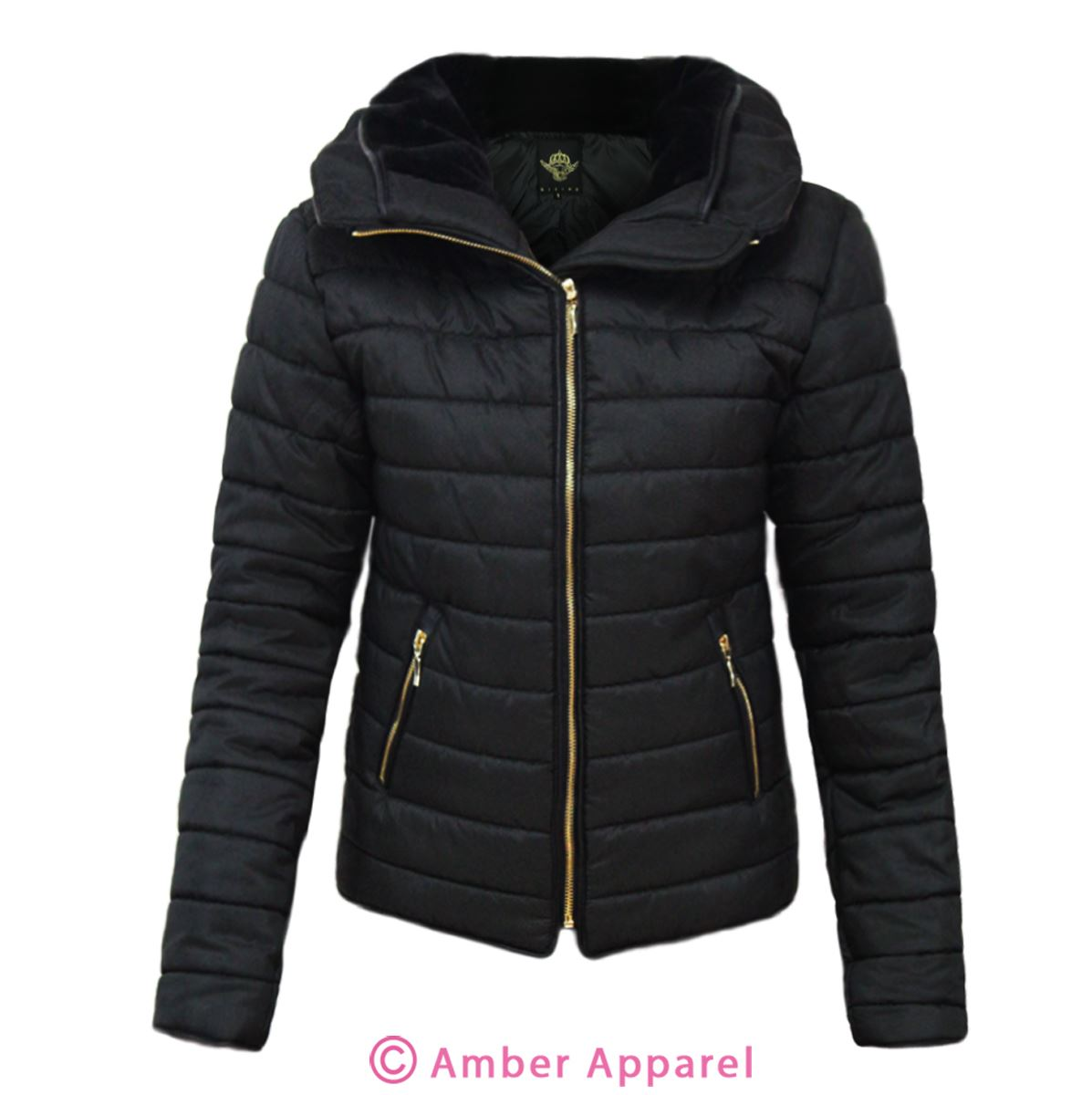 New Ladies Quilted Padded Puffer Bubble Fur Collar Warm Thick