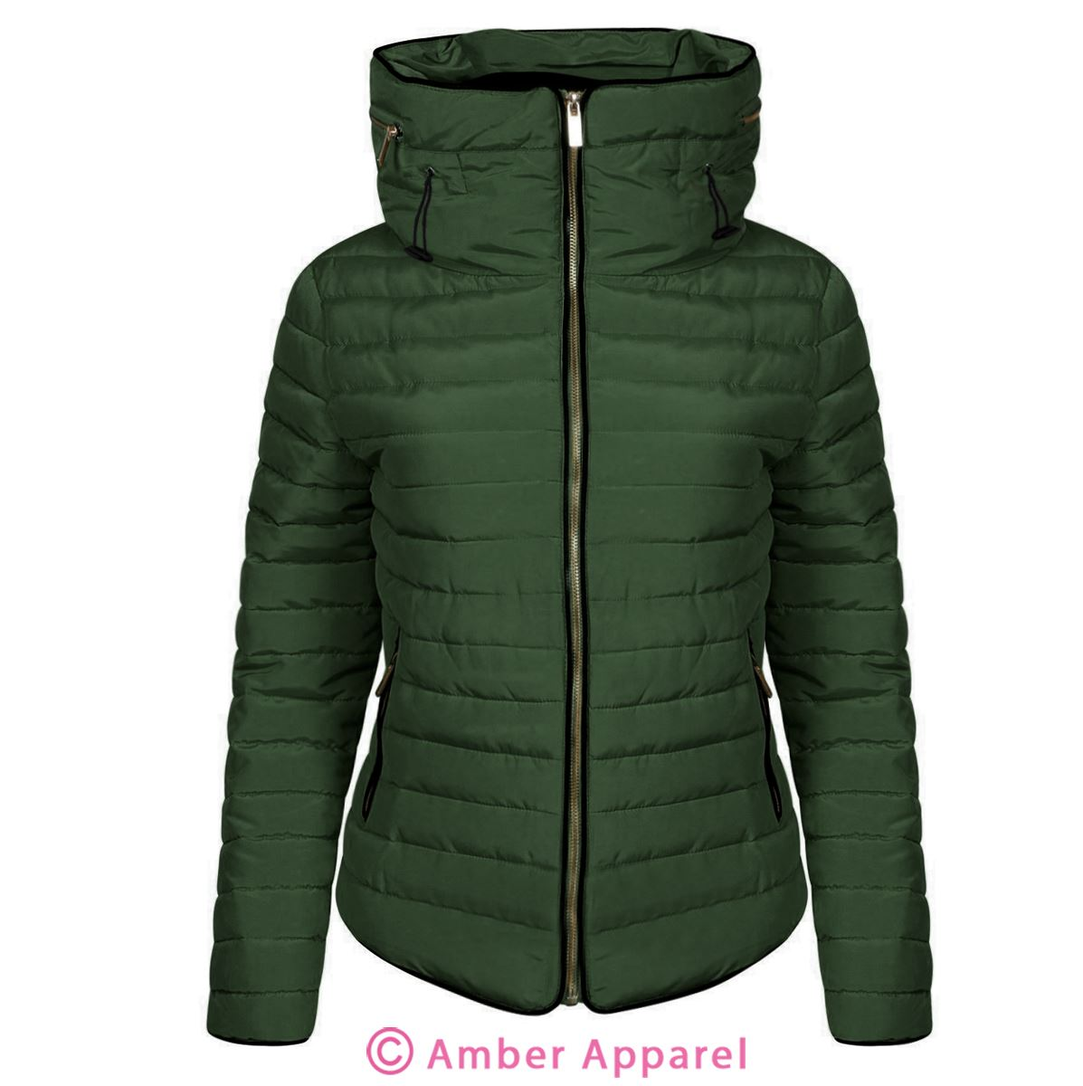 e5781b689c5b Ladies Sequence Jacket Trellis Green. New Ladies Quilted Padded Puffer  Bubble Fur Collar Warm Thick .