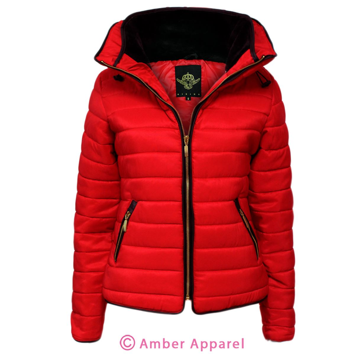New Ladies Quilted Padded Puffer Bubble Fur Collar Warm