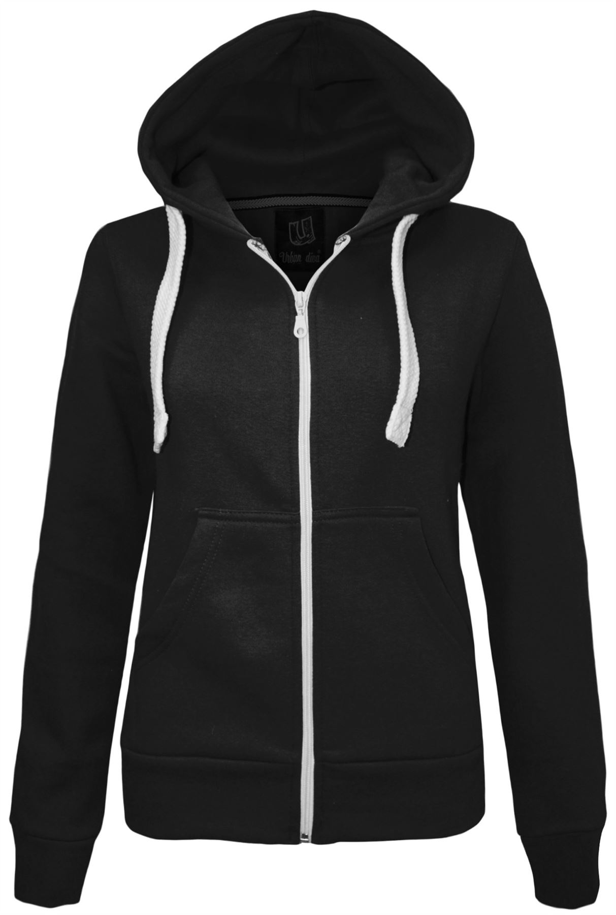 New Womens Ladies Plain Zip Hoodie Sweatshirt Fleece ...