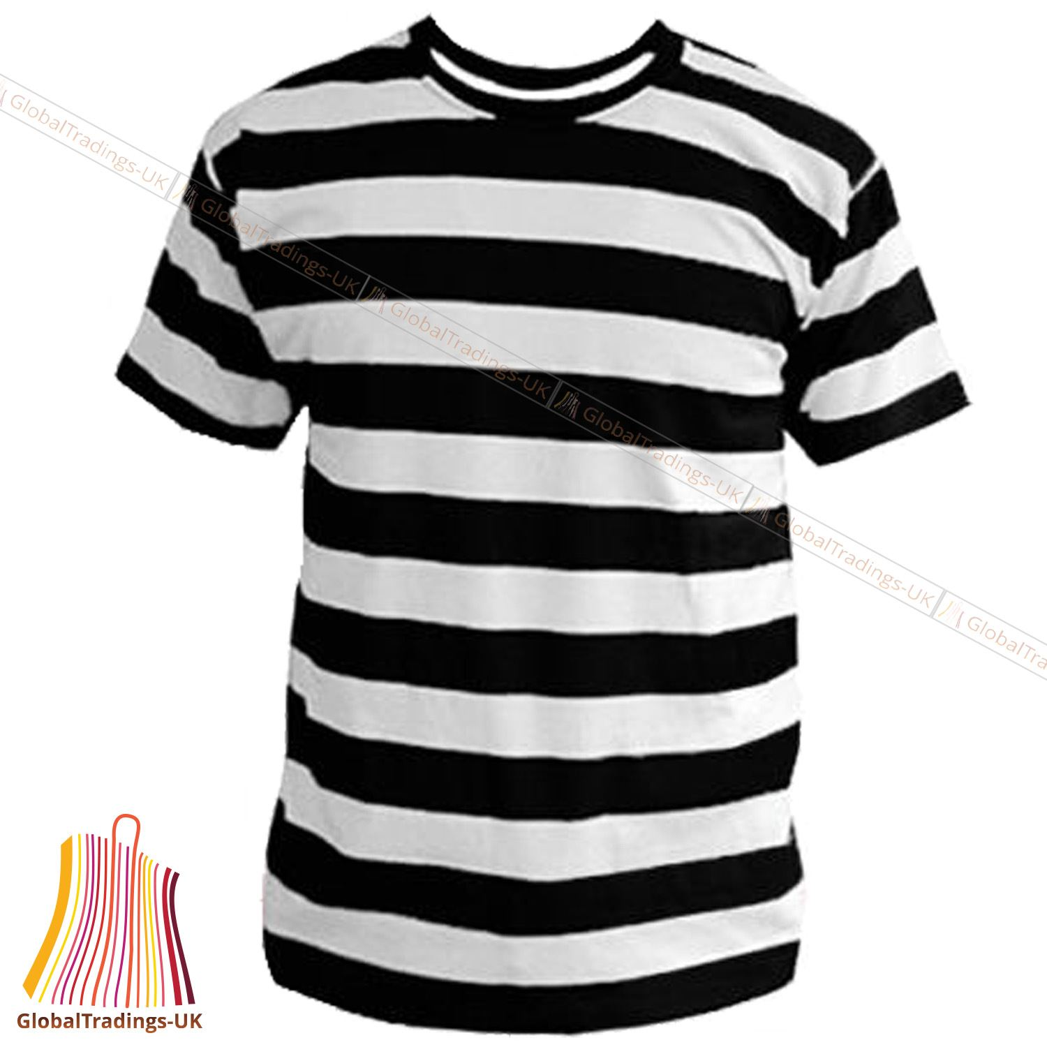 Black and white prisoner police like striped t shirt for Best mens dress shirts under 50