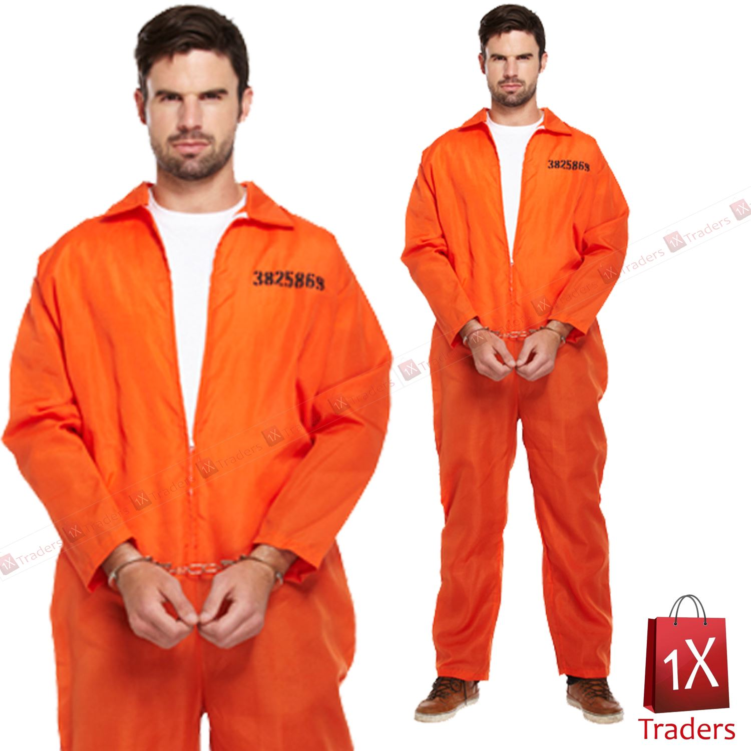 New Mens Prisoner Orange Jumpsuit Convict Prison Fancy Dress ...