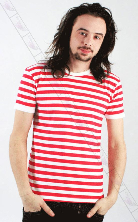 Men 39 s red and white striped sailor prisoner t shirt geek for Mens red and white striped dress shirt