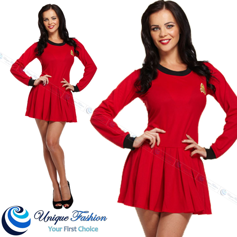 New Womens Red Space Traveller Fancy Dress Star Trek Costume Outfit  sc 1 st  eBay & star trek stuff collection on eBay!