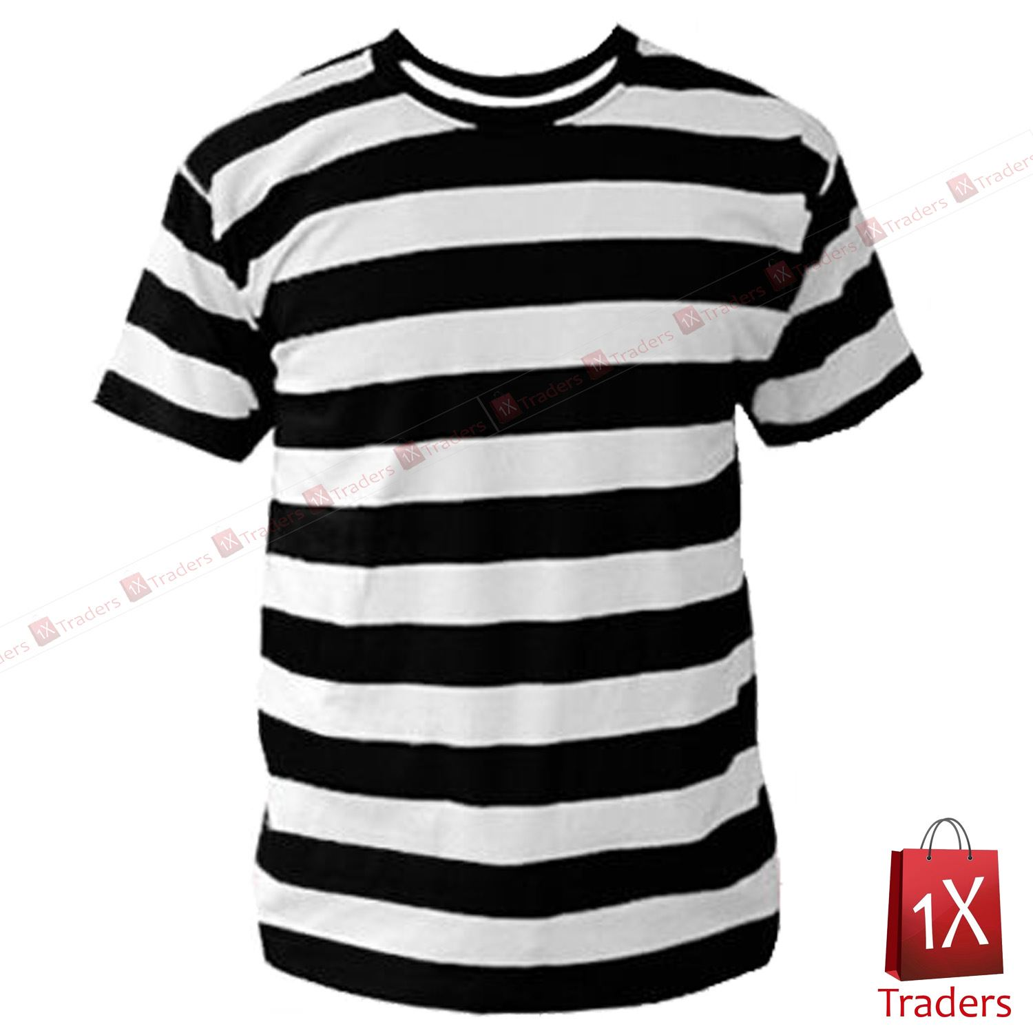 Mens Black And White Striped T Shirt