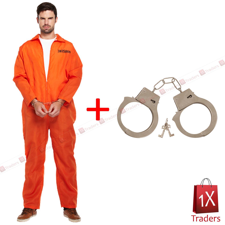 New Prisoner Orange Jumpsuit Convict Prison Fancy Dress Costume ...
