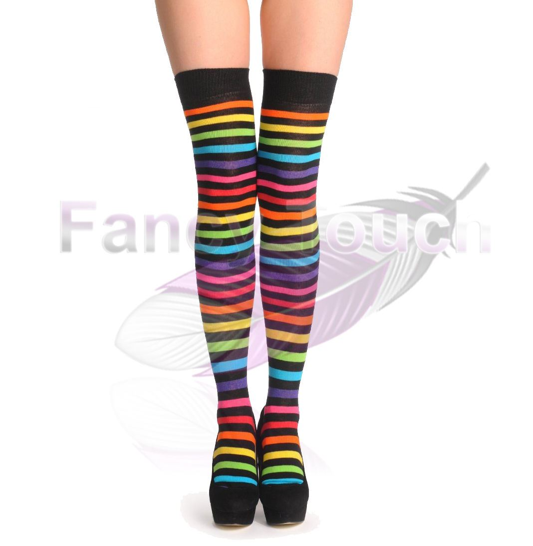 LADIES WOMENS OVER THE KNEE STRIPED SOCKS GIRLS THIGH HIGH ...