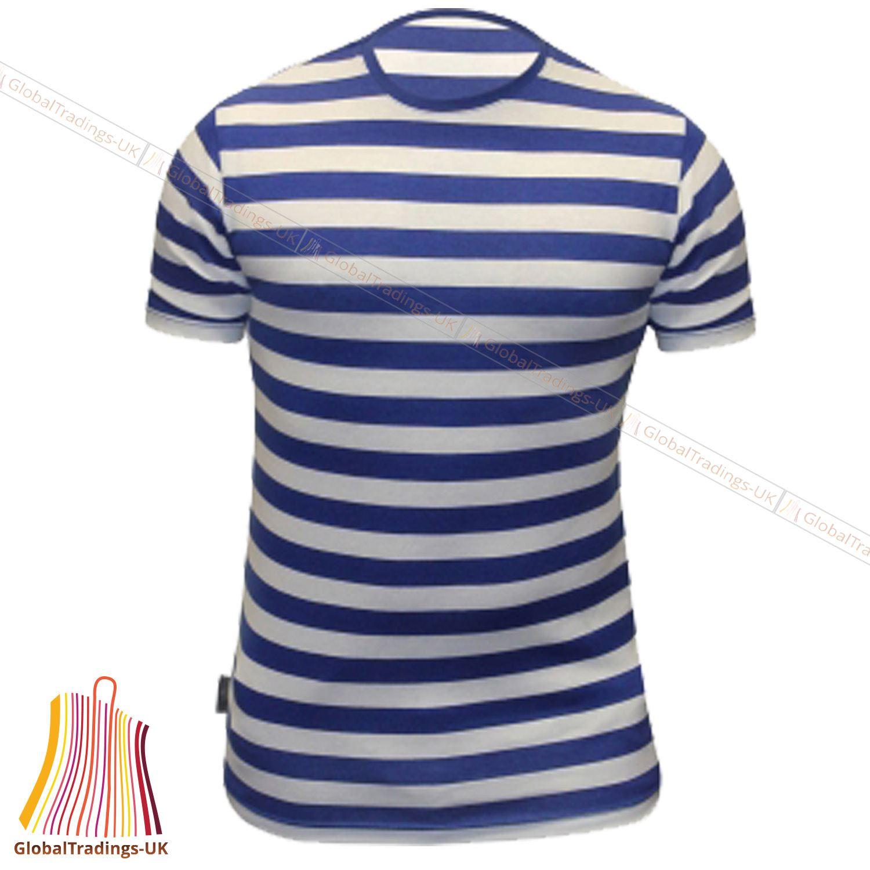 Mens blue white like sailor striped tshirt half sleeve for Blue white striped t shirt mens