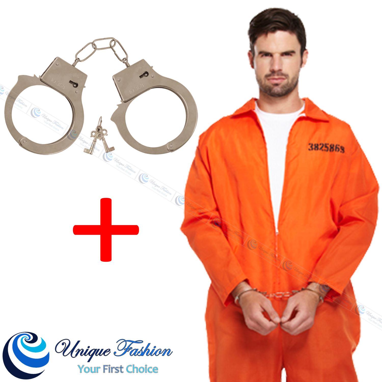 Orange Prisoner Inmate Jumpsuit Fancy Dress Robber Costume Outfit ...