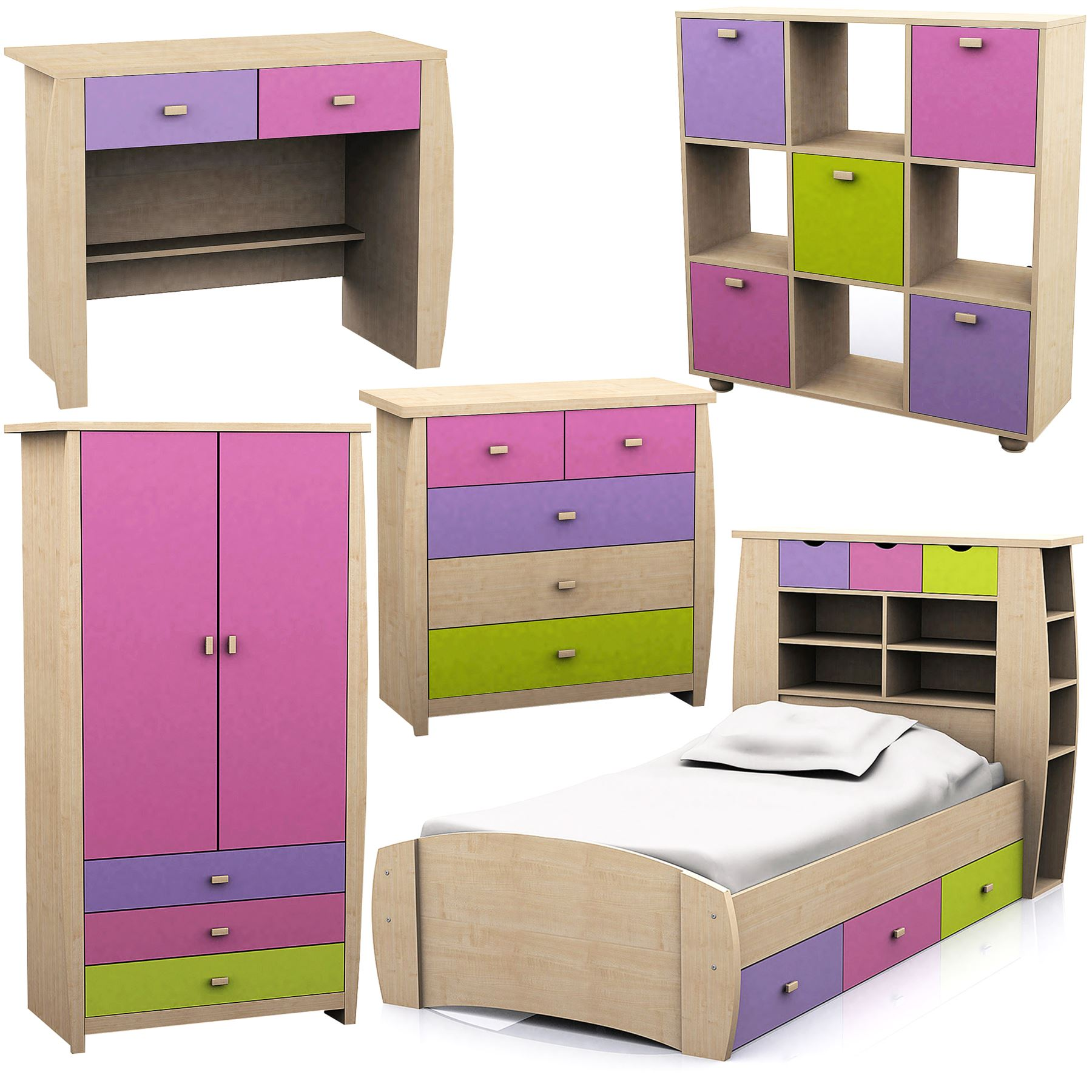 Pink sydney range set 3 storage bed wardrobe bedside desk for Beds sydney