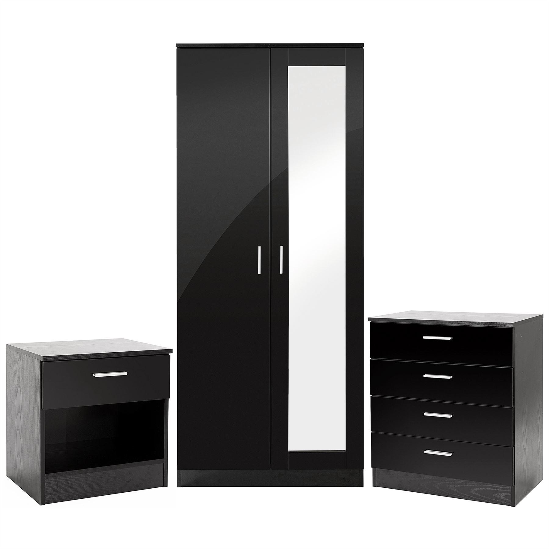 Bedroom furniture 3 piece set black gloss wardrobe drawer for Black gloss bedroom furniture