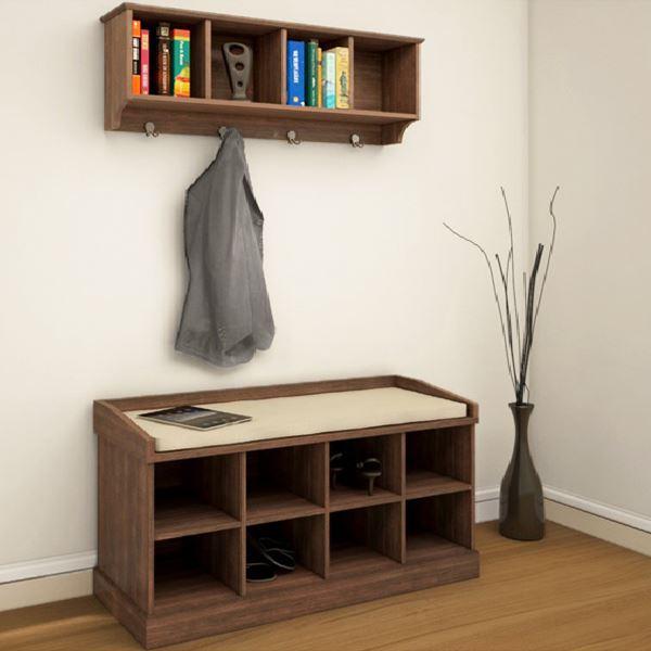 Coat Rack Shoe Bench Hallway Storage Cabinet Hanger Hooks W Padded Seat Ebay
