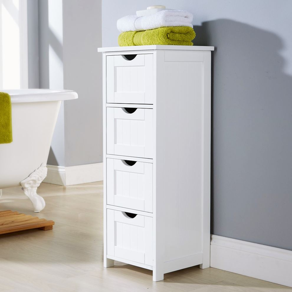 WHITE MULTI-USE BATHROOM STORAGE UNIT 4 DRAWER CABINET CUPBOARD SHAKER STYLE