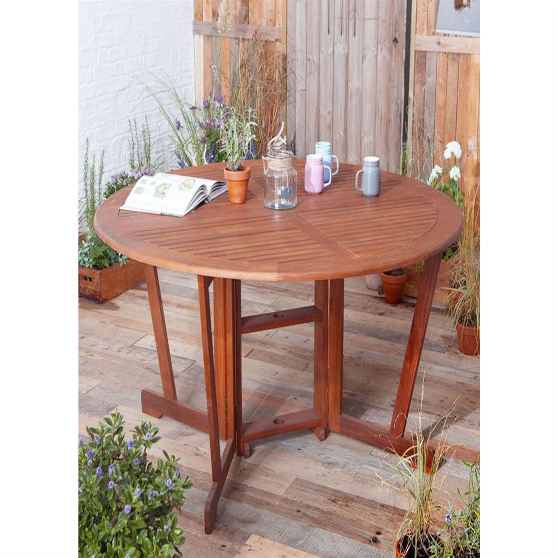 windsor round gateleg garden folding dining table solid wood outdoor