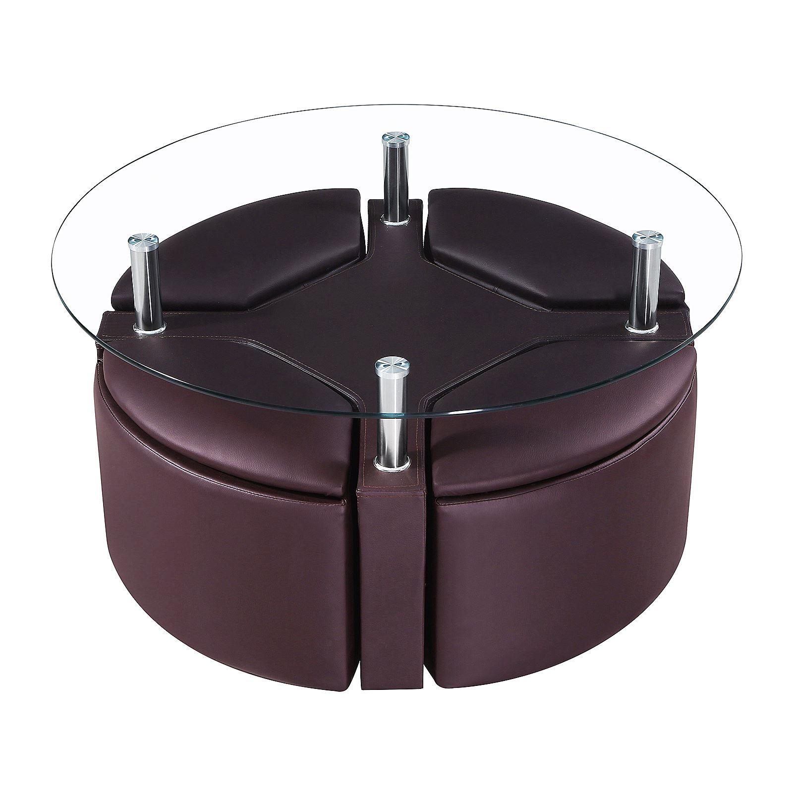Dakota Coffee Clear Glass Round Table Chrome W 4 Ottoman