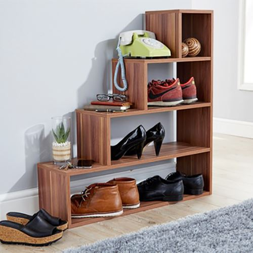 Stylish Understairs 4 Tier Cube Step Bookcase Shoe Storage