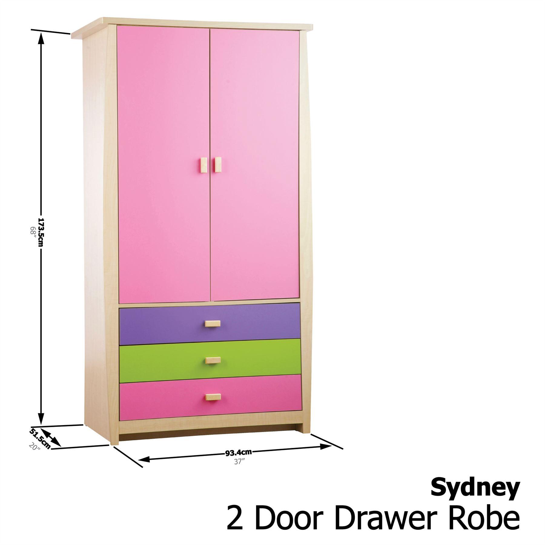 Pink sydney range set 3 storage bed wardrobe bedside desk for Childrens wardrobes uk