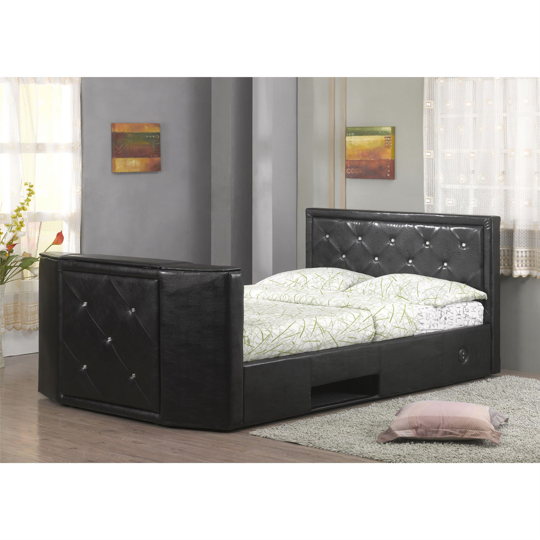 luxurious hollywood leather crystal mount bed remote control electronic tv lift ebay. Black Bedroom Furniture Sets. Home Design Ideas
