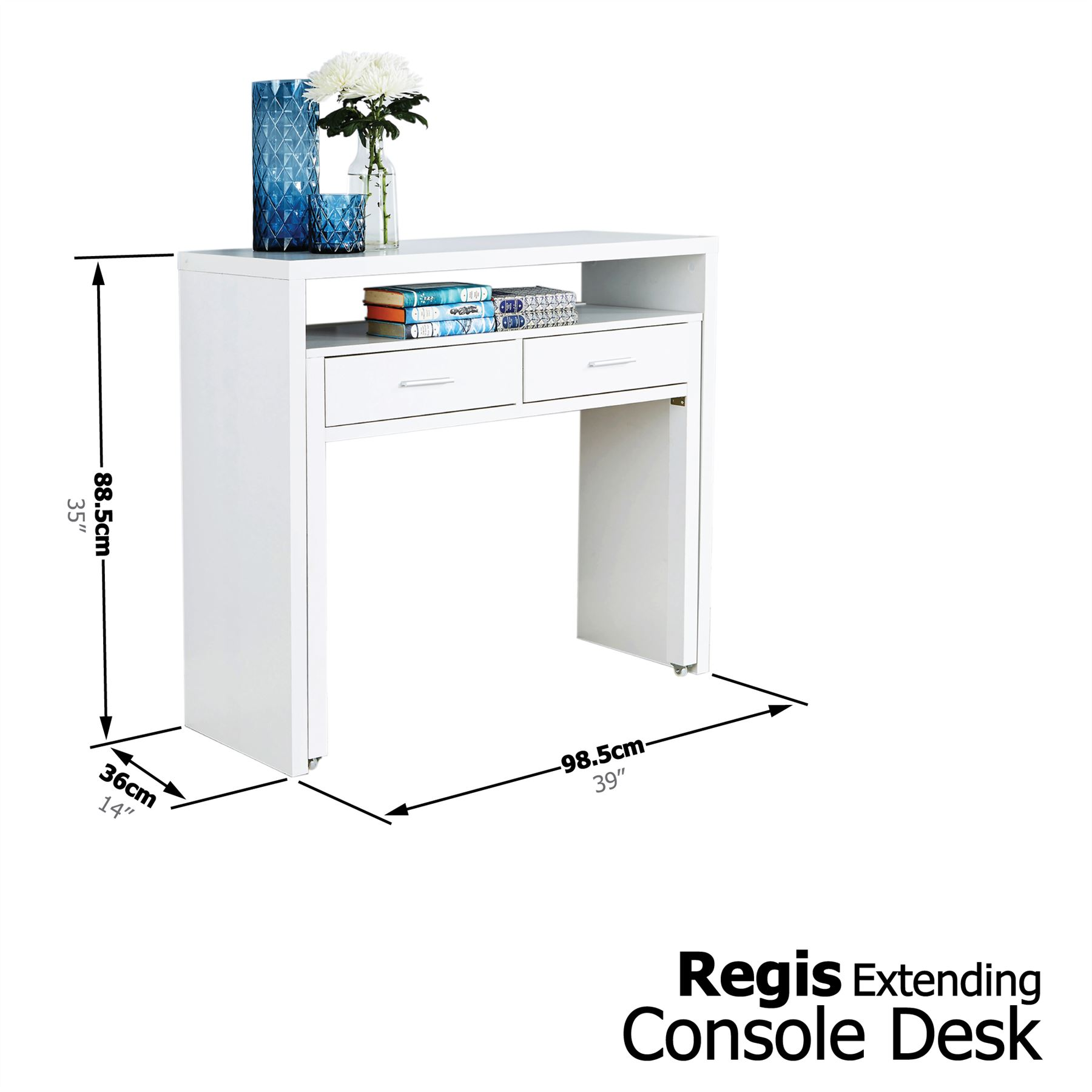 regis extending console table study computer desk 2 drawers retractable shelf oak f00145 ebay. Black Bedroom Furniture Sets. Home Design Ideas