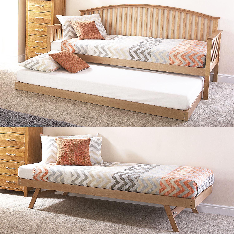 madrid wooden 3ft single day traditional bed frame trundle guest bedstead oak ebay. Black Bedroom Furniture Sets. Home Design Ideas