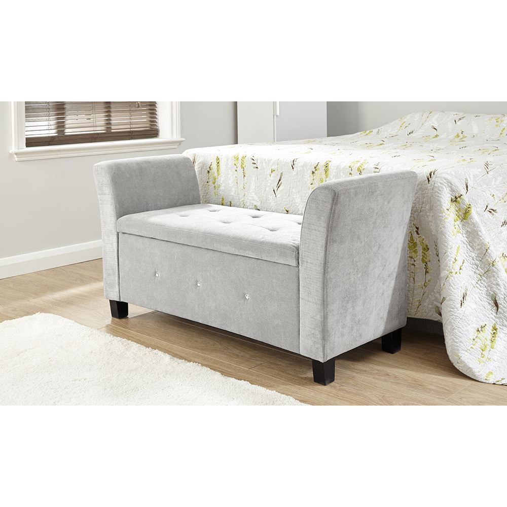 Verona chenille diamante window seat ottoman storage box for Storage ottoman seat