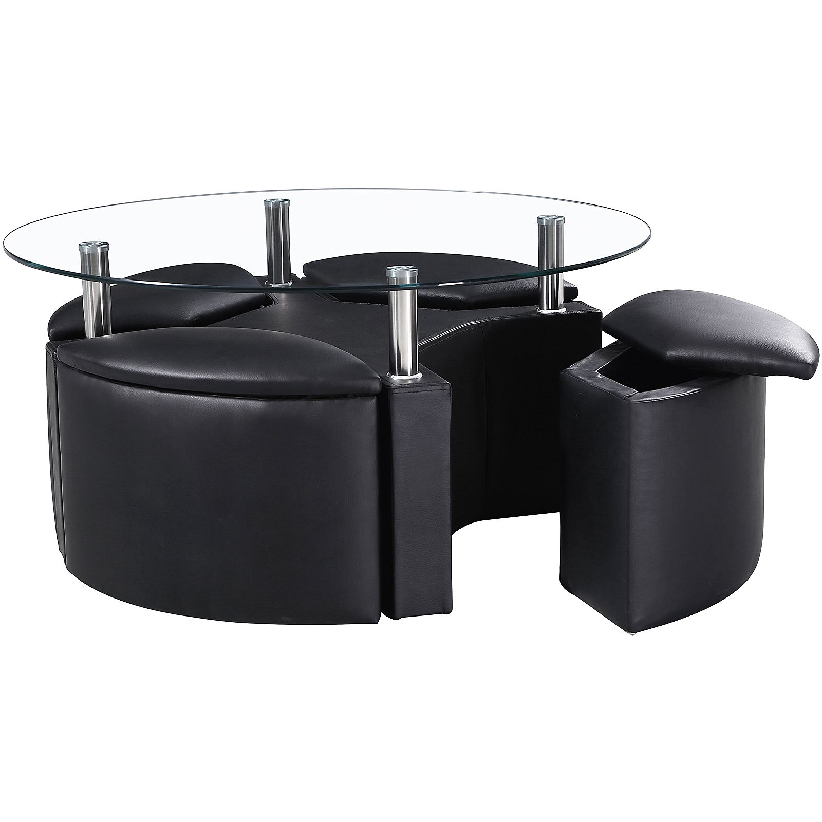 Black Coffee Table With Storage Uk: DAKOTA COFFEE CLEAR GLASS ROUND TABLE CHROME W/ 4 OTTOMAN