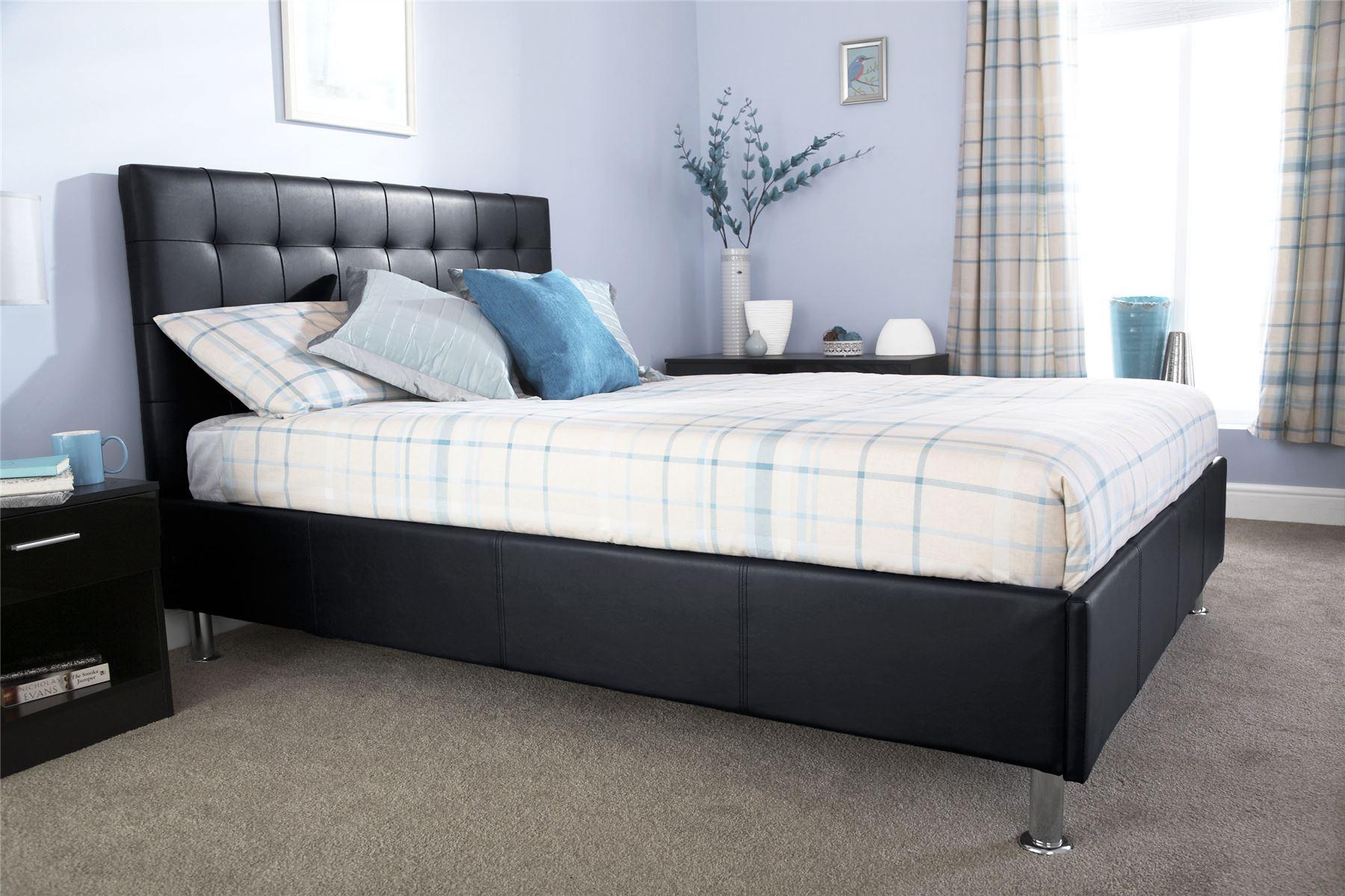 Naples Faux Leather Bedstead Modern Elegant Bed Chrome