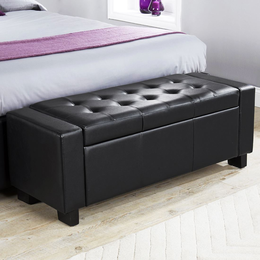Ottomans Lucia Storage Chest Grey Fabric: FAUX LEATHER FABRIC CHENILLE DIAMANTES HOPSACK BLANKET BOX