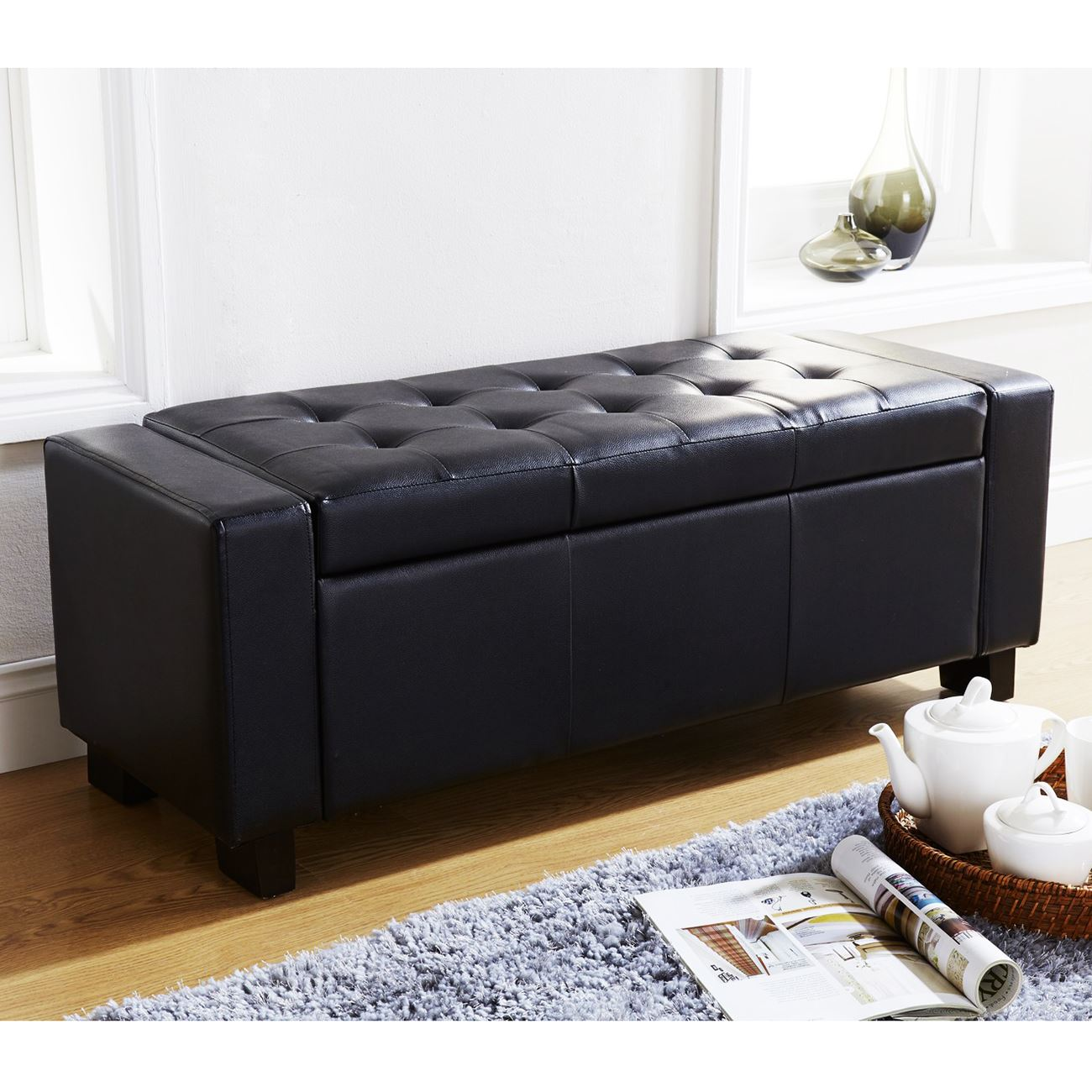 Verona Ottoman Blanket Box Storage Bench Faux Leather Foot Stool Seat Black Ebay
