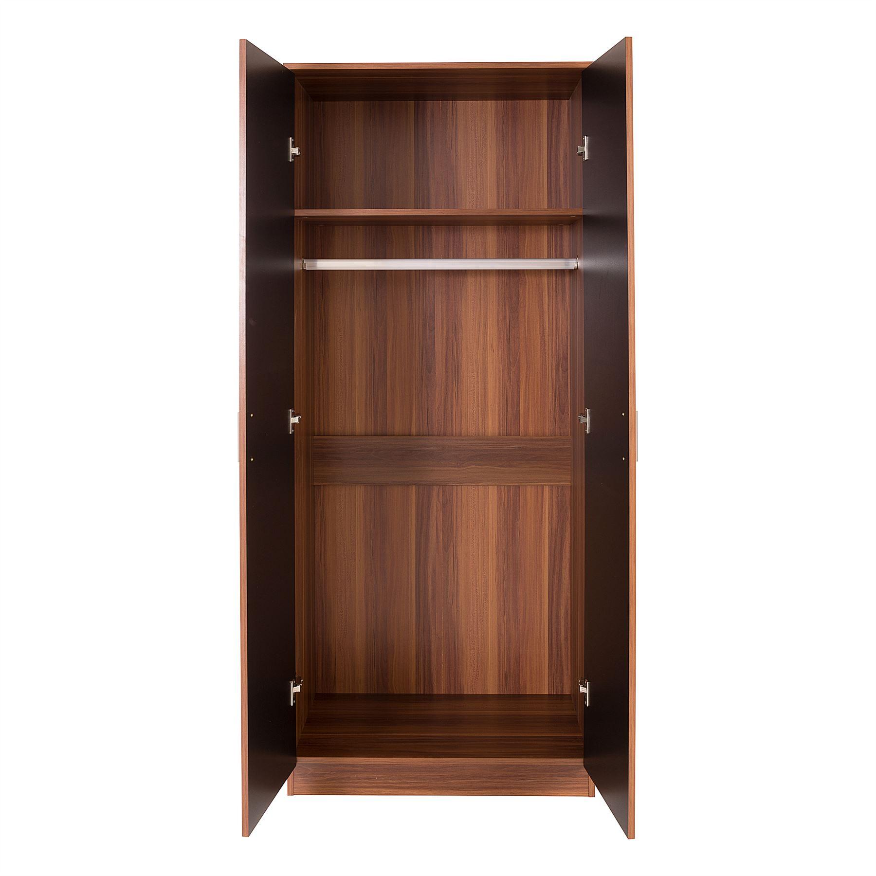 Bedroom Furniture 3 Piece Set Black Gloss Walnut Wardrobe Bedside Drawer Chest Ebay