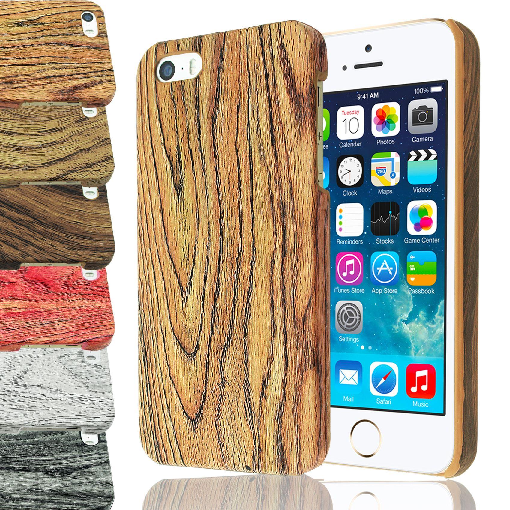 Cover-Rigida-Per-Iphone-5-5S-In-Plastica-Effetto-Legno-Di-Bambu