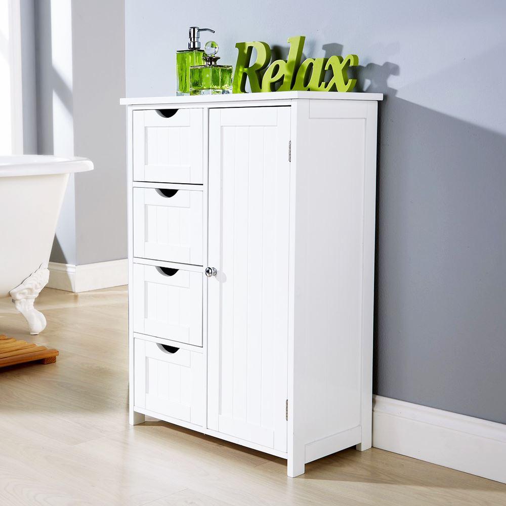 WHITE MULTI-USE BATHROOM STORAGE UNIT 4 DRAWER CABINET