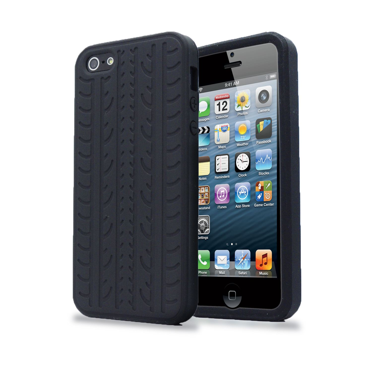 BLACK-TYRE-TREAD-SOFT-SILICONE-RUBBER-CASE-PROTECTOR-COVER-FOR-IPHONE-SE-5S-5