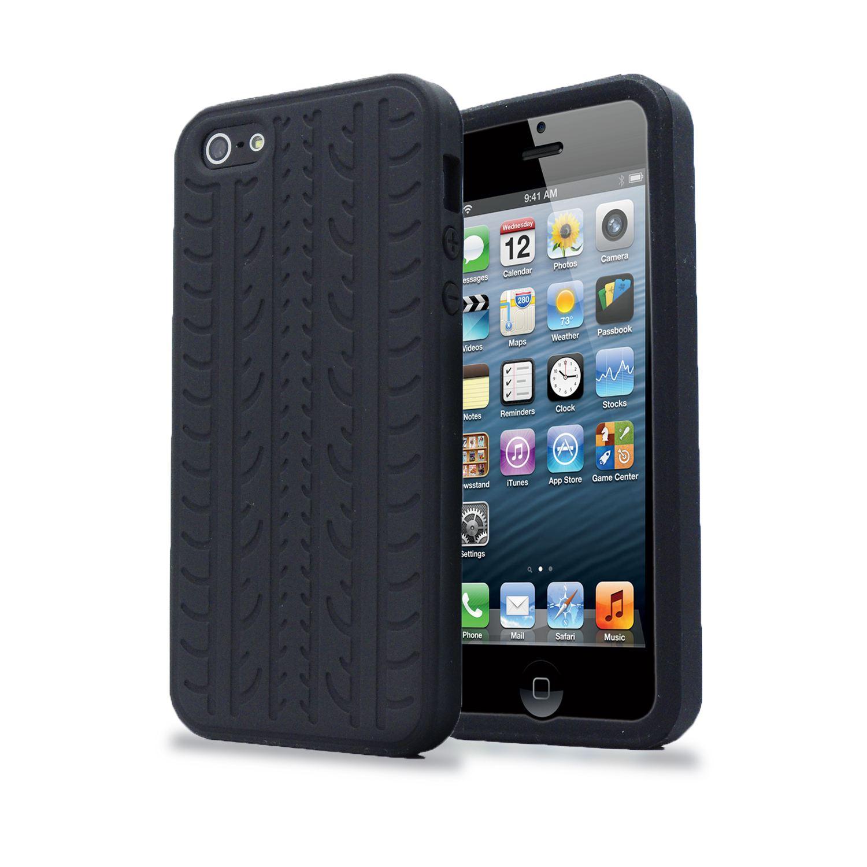 Negro-Neumatico-Pisada-Suave-Silicona-Goma-Funda-Cubierta-Protector-para-iPhone-SE-5S-5