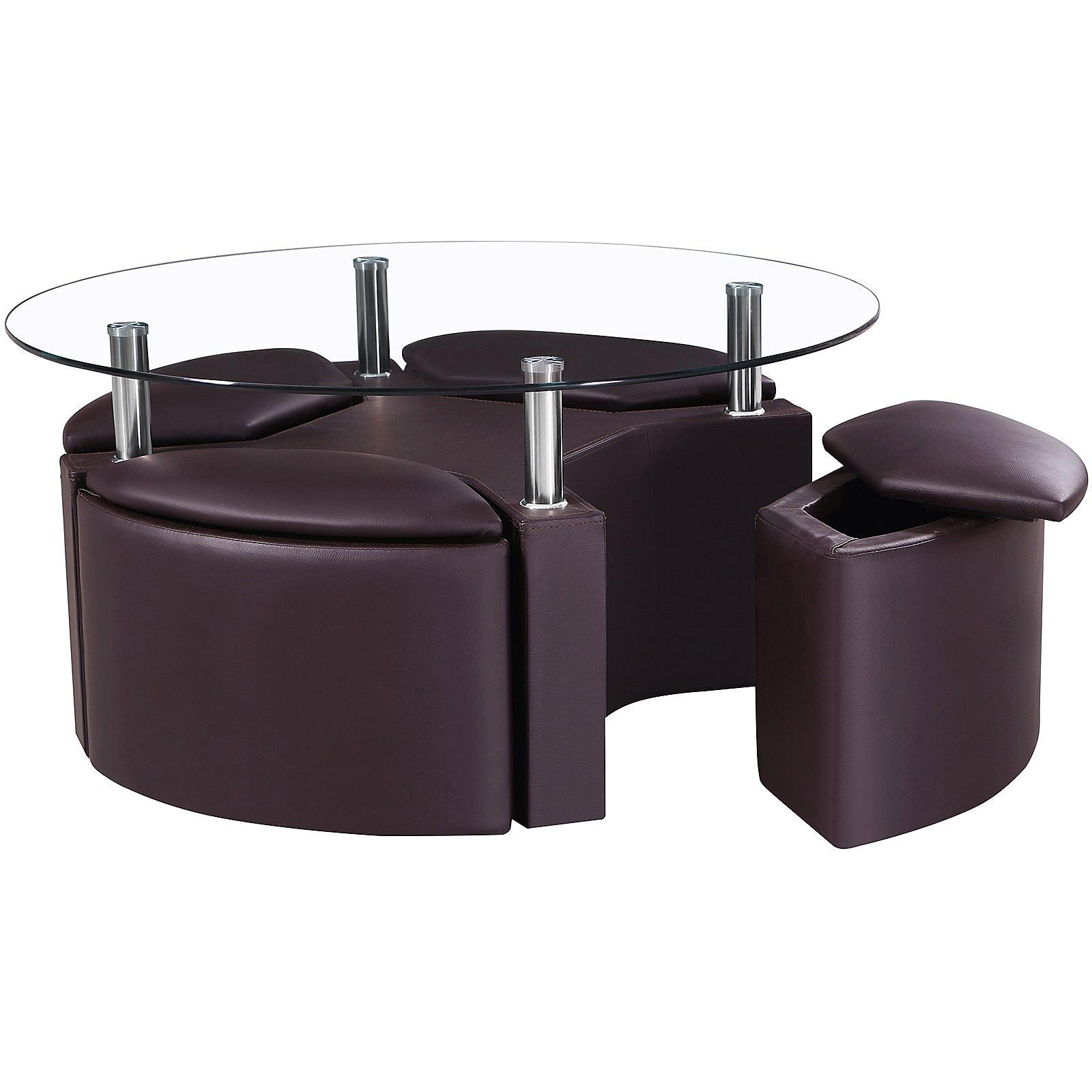 Dakota Coffee Clear Glass Round Table Chrome W 4 Ottoman Storage Seat Stools Ebay