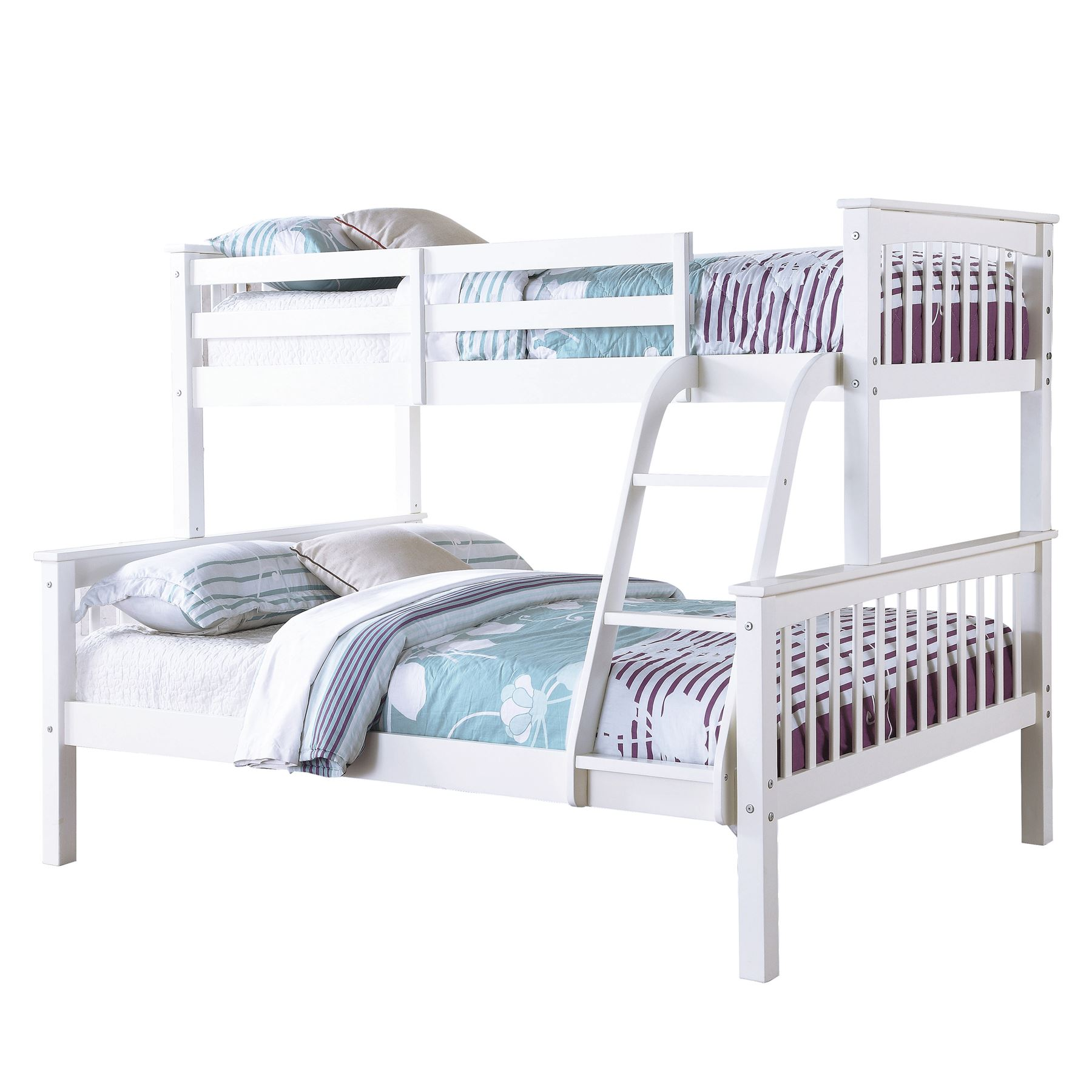 Novaro trio white bunk bed frames 3ft single 4ft6 double for Childrens single beds
