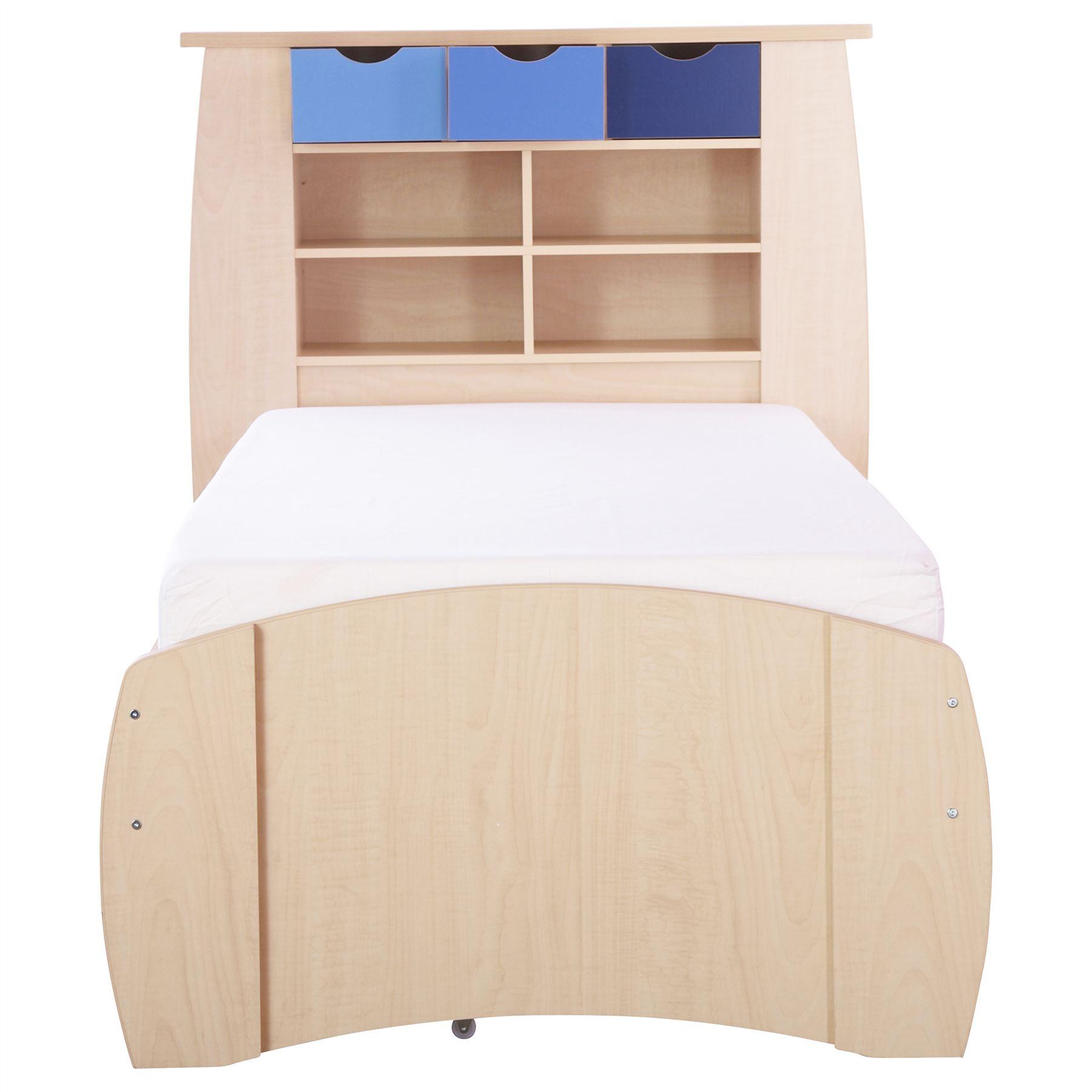 Blue Sydney Range Set 3 Storage Bed Bedside Wardrobe