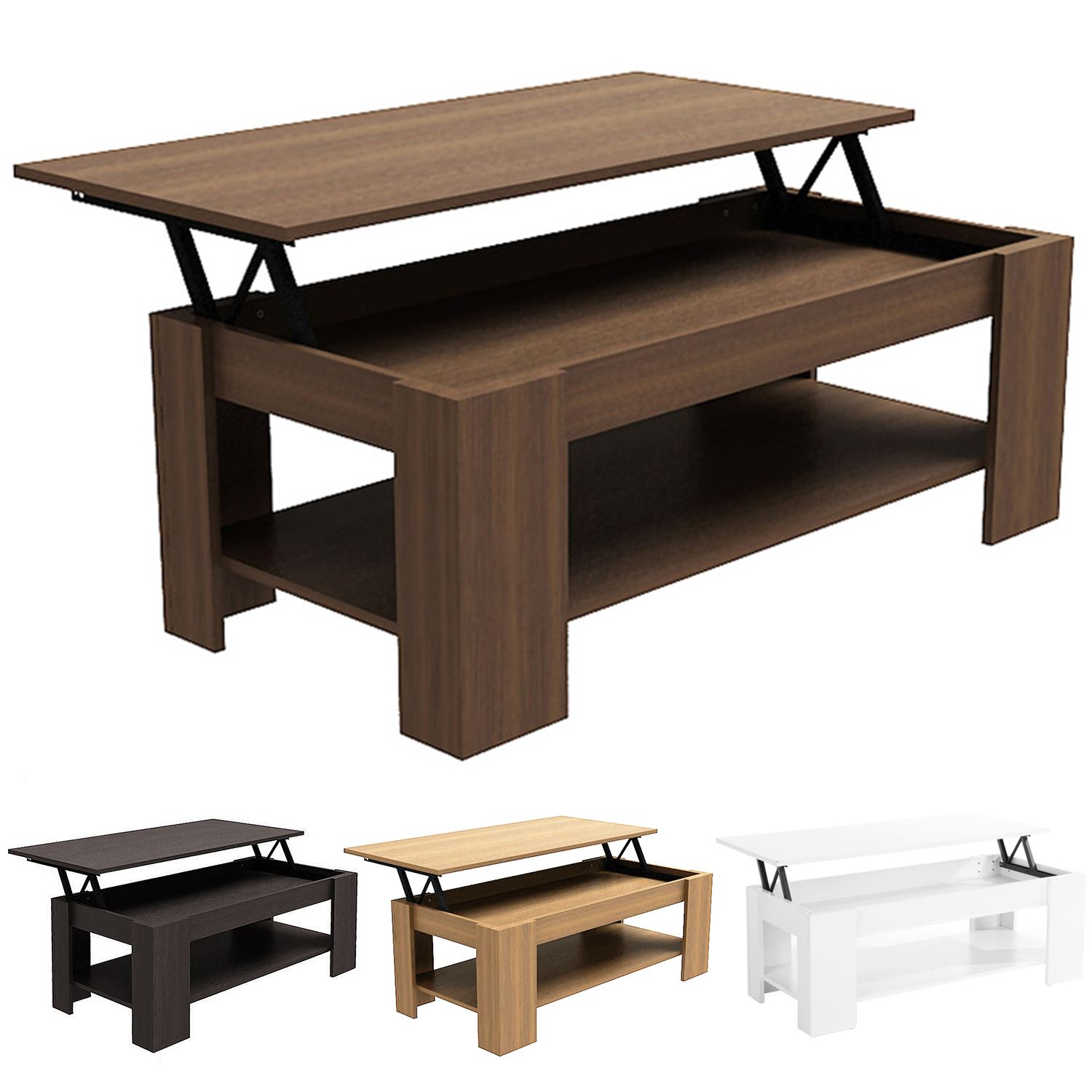 MODERN LIFT-UP EASY STORAGE COFFEE WOODEN ESPRESSO TABLE