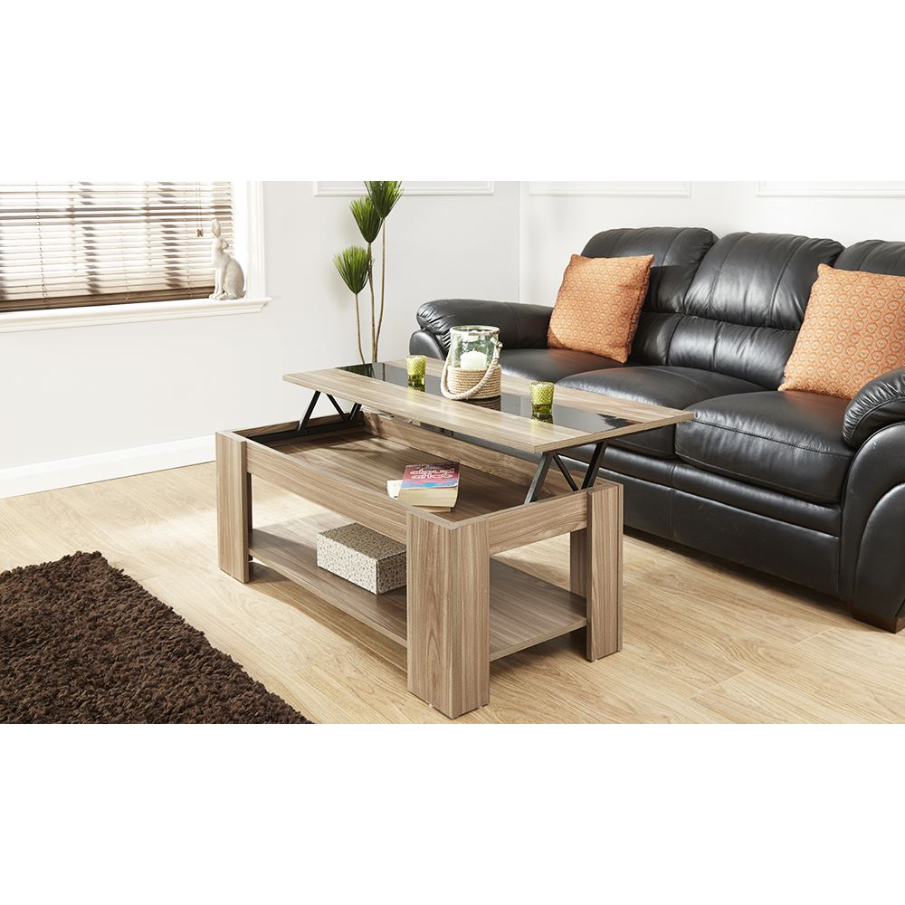LIFT UP COFFEE TABLE & GLOSS STRIP LOUNGE TABLE W/ SHELF