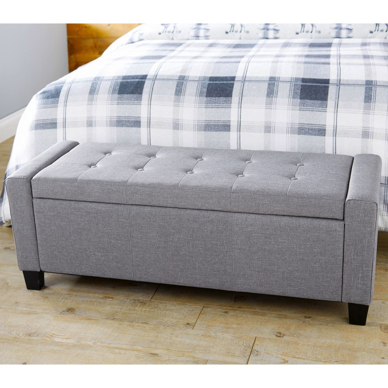 VERONA OTTOMAN STORAGE BLANKET BOX HOPSACK FABRIC SEAT BENCH FOOT STOOL  SILVER - Fabric Ottoman Storage Ottomen EBay