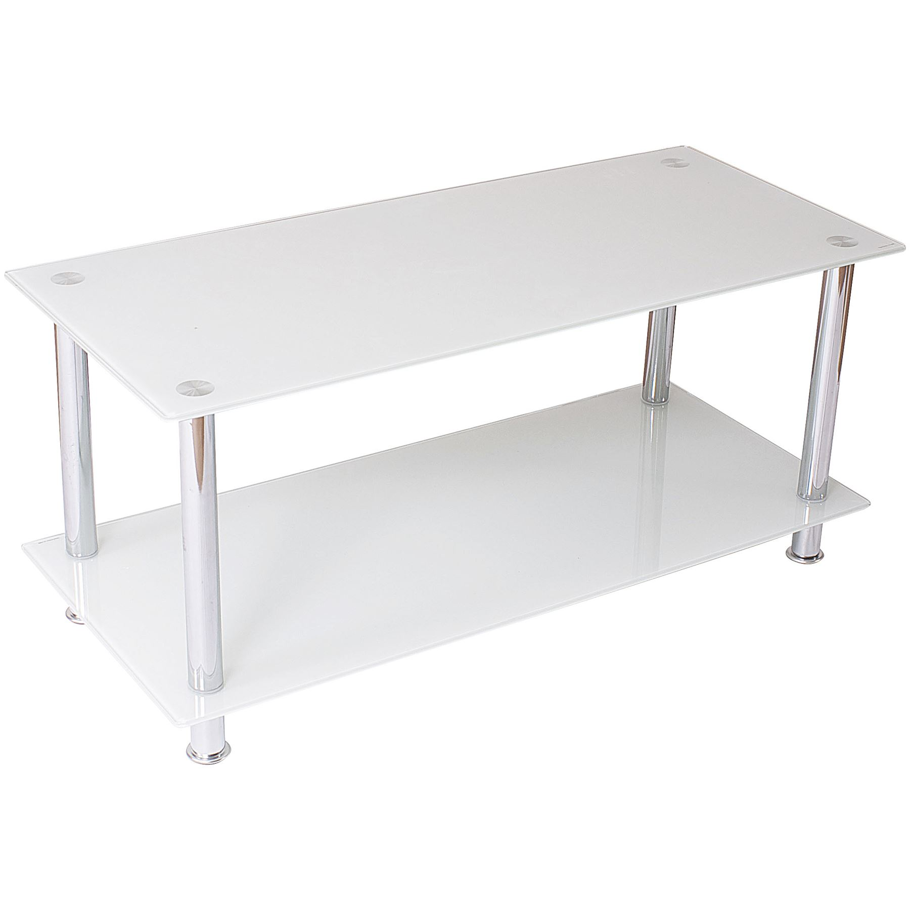 MODERN SATURN COFFEE SIDE TABLE CHROME LEGS TEMPERED GLASS