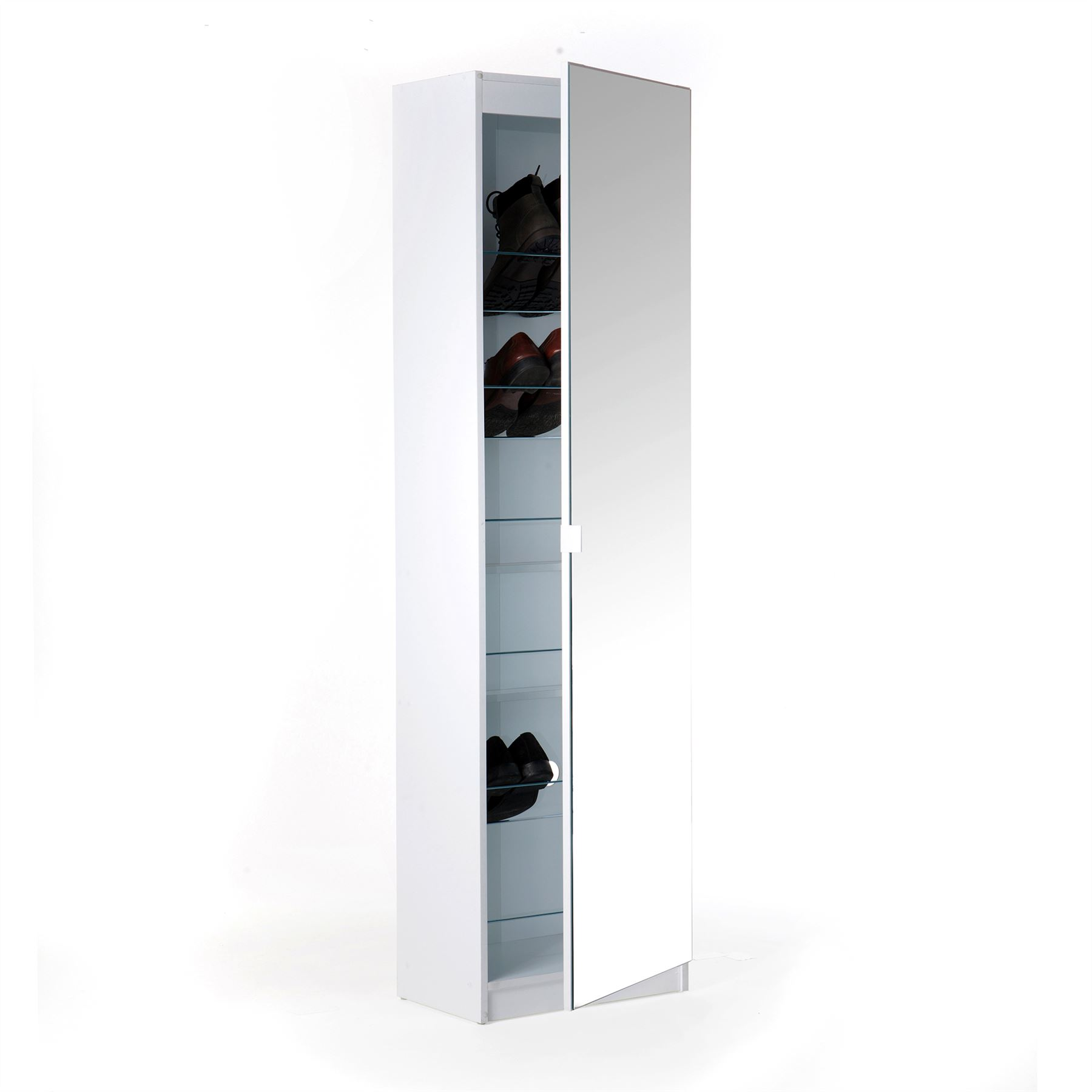 TALL MIRRORED 6 TIER FULL LENGTH SHOE CABINET RACK CUPBOARD STAND STORAGE WHITE