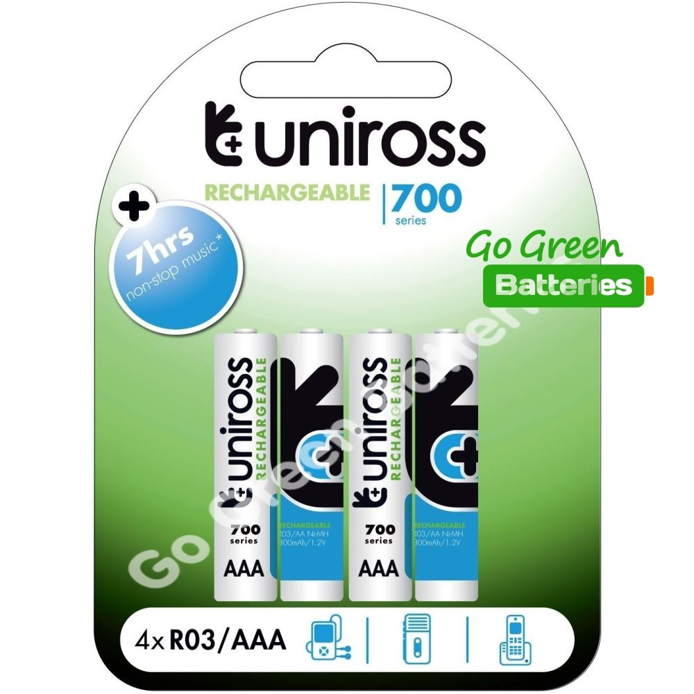 4 x uniross aaa 700 mah rechargeable batteries nimh accu lr03 hr03 dc2400 phone ebay. Black Bedroom Furniture Sets. Home Design Ideas