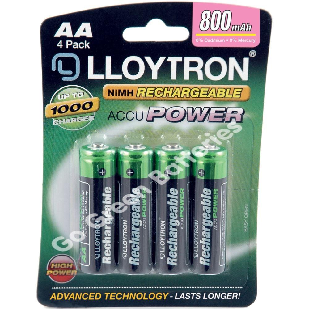 4 x lloytron aa rechargeable batteries 800 mah nimh. Black Bedroom Furniture Sets. Home Design Ideas