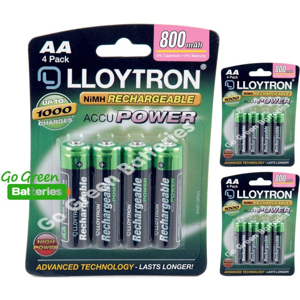 12 x pilas recargables lloytron aa 800 mah nimh ebay for Pilas recargables aa