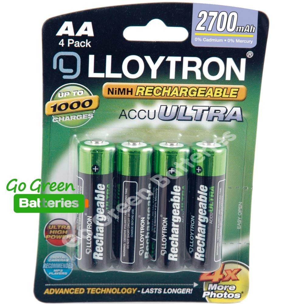 4 x lloytron aa 2700 mah rechargeable batteries nimh lr6. Black Bedroom Furniture Sets. Home Design Ideas