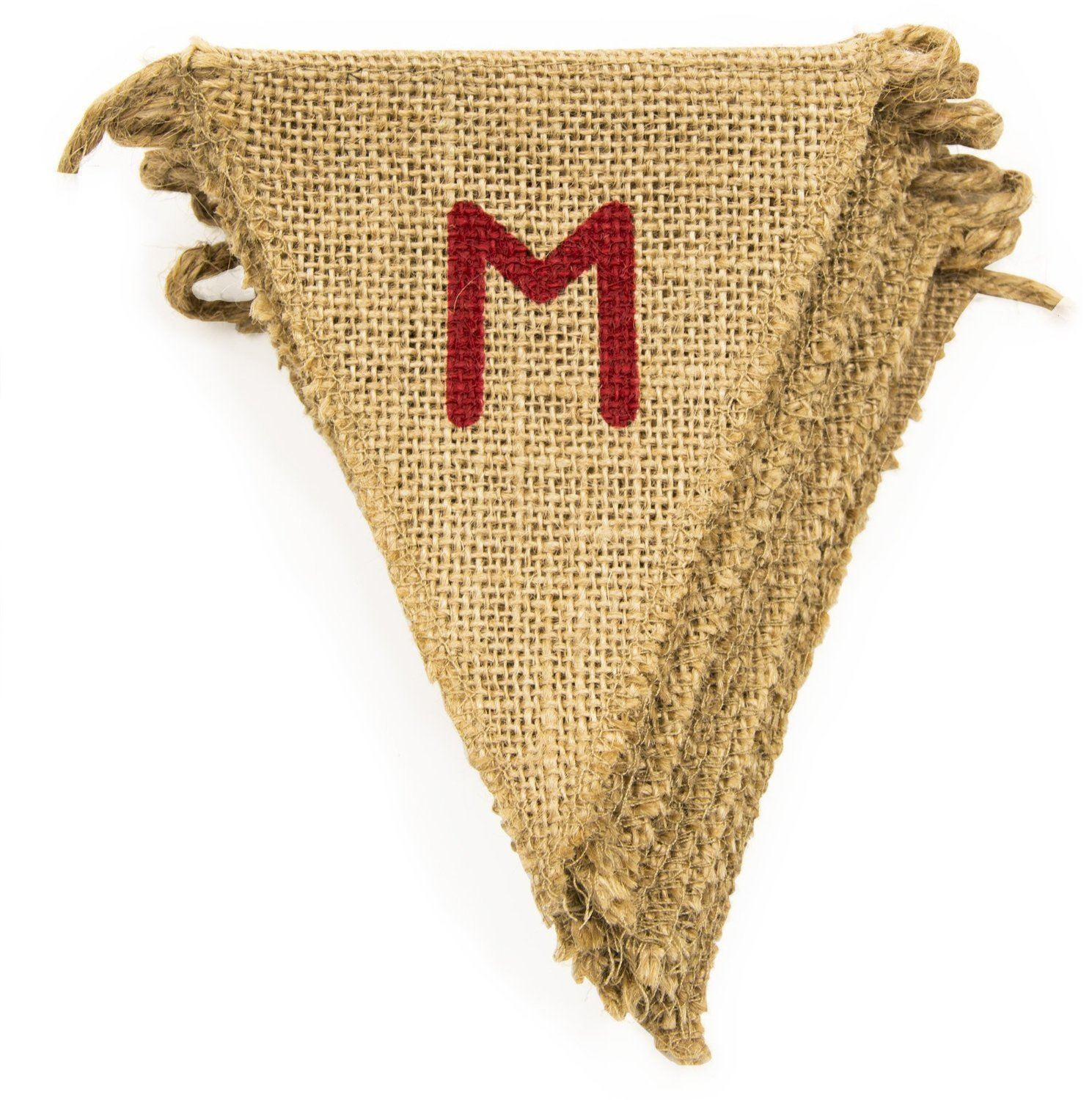 Jute flag bunting wedding party birthday garland burlap for Diy jute